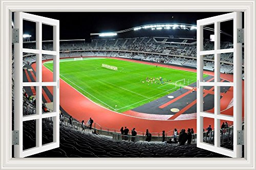 GreatHomeArt Soccer Match Football Field 3d Wall Decal Peel