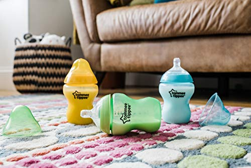 51MYzM5tXbL - Tommee Tippee Closer To Nature Fiesta Baby Feeding Bottles, Anti-Colic, Slow Flow, BPA-Free - 9 Ounces, Multi-colored, 6 Pack (522597)