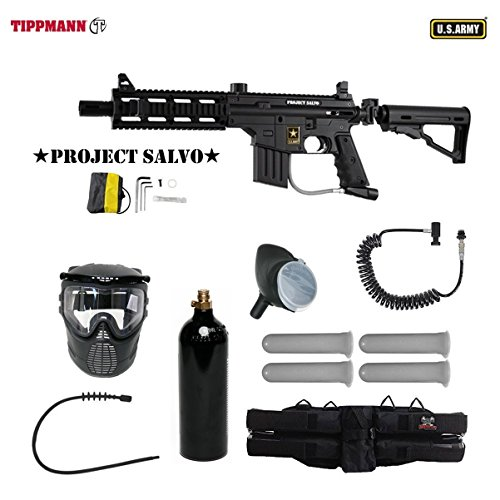(US Army Project Salvo Paintball Marker Gun 4+1 Mega Set + Remote)