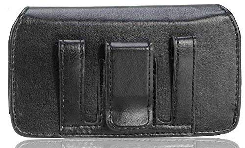 Cell-Stuff Leather Case with Round Hidden Magnet Flap with Belt Clip and Loop Compatible w/Moto G7 Power and Similar Size Smart Phones