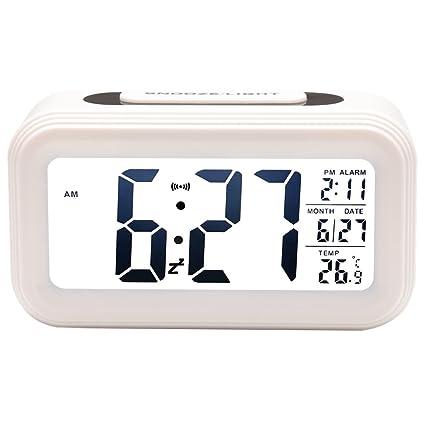 Reloj despertador digital con retroiluminación Snooze suave luz de noche para dormir Viaje