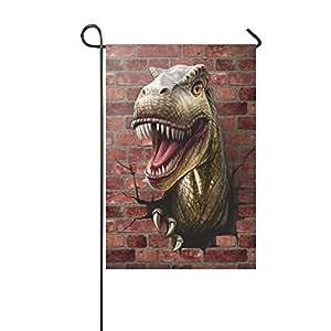 Custom home al aire libre jardín bandera Funny Dinosaur Romper la Pared Jardín bandera casa Banner 12x 18inch