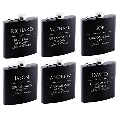 P Lab Set Of 6  Groomsmen Gift  Groomsman Gifts For Wedding Wedding Favor Customized Flask Set w Optional Gift Box  Engraved 6oz Stainless Steel Flask Custom Personalized Flask Gift Set Black #1