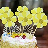 NOMSOCR 6Pcs Beautiful Flowers Cupcake Cake Toppers Dessert Table Food Picks for Kids Birthday Party Decorations Supplies (Yellow, 6Pcs)