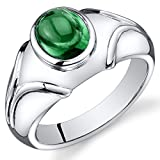 Mens Simulated Emerald Ring Cabochon 2.50 Carats Sterling Silver Size 11