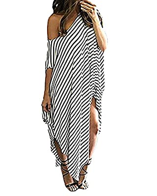 Kidsform Women Maxi Dress Striped Long Dresses Casual Loose Kaftan Oversized Round Neck Sundress