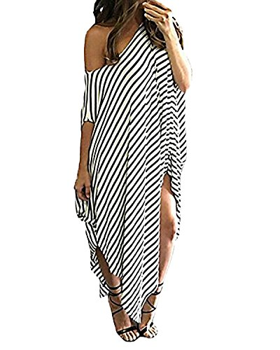 Kidsform Women Maxi Dress Striped Irregular Long Dresses Casual Loose Kaftan Round Neck Sundress -