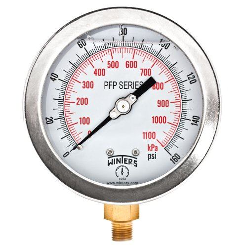 Winters PFP Series Premium Stainless Steel 304 Dual Scale Liquid Filled Pressure Gauge with Brass Wetted Parts, 0-160 psi/kpa, 4