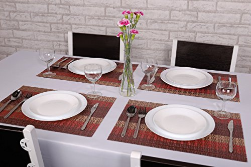 SICOHOME Placemats Set of 6,Soft Crossweave Woven Vinyl Placemat,Multi Colored(Red) by SICOHOME (Image #1)