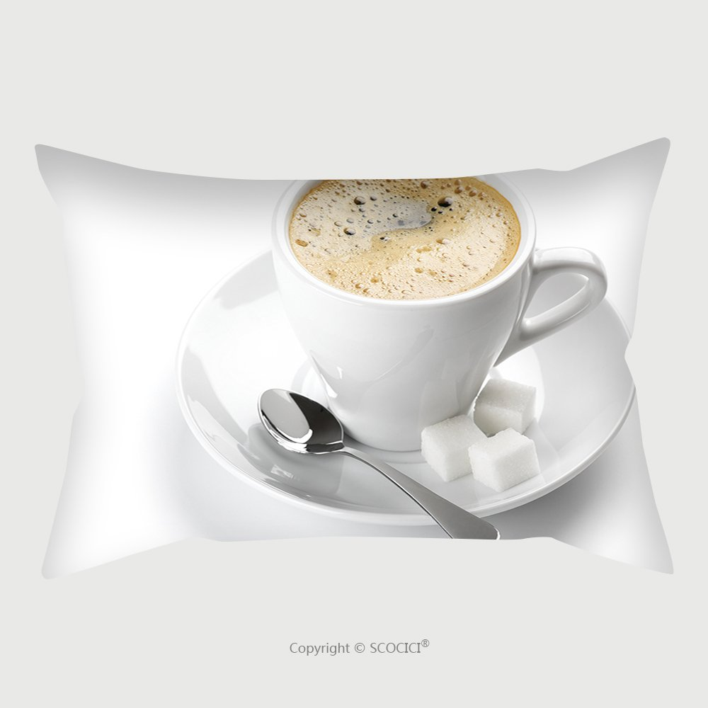 Custom Satin Pillowcase Protector White Cup Of Coffee Isolated On White Background 74546320 Pillow Case Covers Decorative