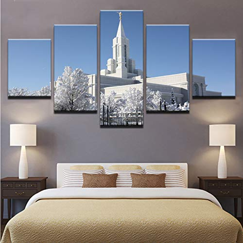 LSFHB Canvas Home Decor Hd Prints Poster 5 Pieces Bountiful White Utah Temple Paintings Framework Living Room Wall Art Pictures Pengda-280X200Cm