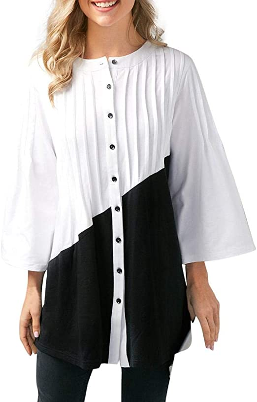 Heeecgoods Moda para Mujer Botón Casual Volantes Patchwork Tres ...