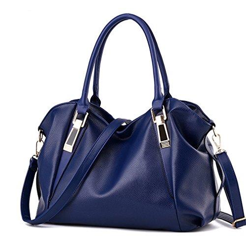 (Herald PU Leather Bags Handbags Ladies Portable Shoulder Bag Office Ladies Hobos Bag Totes Blue)