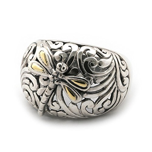 Phillip Gavriel 18k Yellow Gold and Sterling Silver Large Dome Filigree Dragonfly Ring, Size, 7