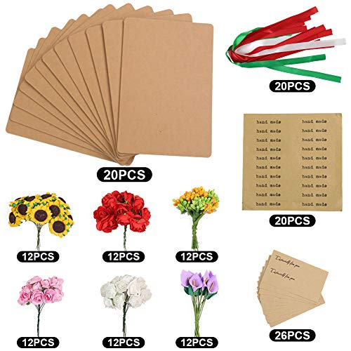 Johouse Dried Flowers Greeting Cards, 20PCS Handmade Greeting Cards Vintage Kraft Blank Note Card Thank Notes for Birthday Party,Valentines Day,Mothers Day