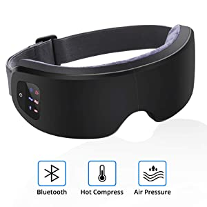 Electric Eye Massager with Heat, Air Compression, Bluetooth Music, Wireless Eye Mask Massager for Relieving Dry Eyes, Eye Fatigue, Improving Blood Circulation and Sleep Quality-Black