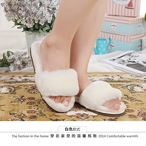 LaxBa Lhiver au chaud, lhiver Chaussons Chaussons moelleux Accueil chaleureux en hiver, chaussures antiglisse Chambre Chaussons white39