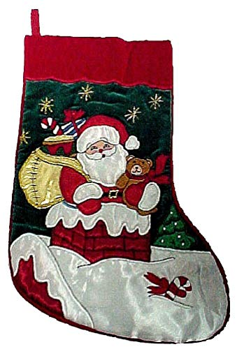 Gorgeous Christmas Stocking Santa w/Bear and Sack of Toys in Chimney #HP99028