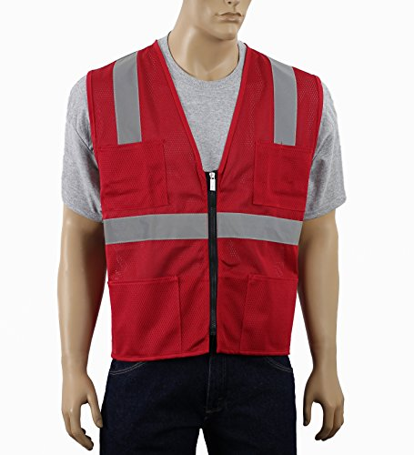 Safety Depot High Visibility Mesh Reflective Safety Vest With Zipper and Multiple Pockets MSD1000 (Red, Extra - Vests Safety Disposable