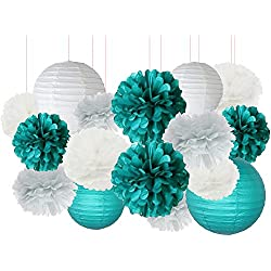 Furuix 16 pcs White Teal Grey 10inch 8inch Tissue Paper Pom Pom Paper Lanterns Mixed Package for Teal Themed Party Wedding, Bridal Shower Decor Teal Blue Baby Shower Teal Wedding Decoration