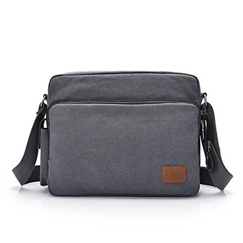 Compras Bolso de hombro del mensajero de nylon impermeable de la cremallera retro simple Color gris Cómodo