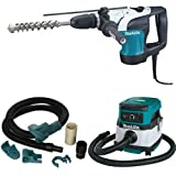 Makita HR4002 1-9/16-Inch SDS-MAX Rotary Hammer  with Makita 196571-4 Dust Extraction Attachment, SDS-MAX, Demolition with Makita XCV04Z 18V X2 LXT Lithium-Ion Cordless/Corded Dry Vacuum, 2.1 gallon