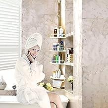 Hans&Alice Thanksgiving Deal, Bathroom Corner Shelf, Adjustable Constant Tension Shower Caddy, Multi-Purpose Rack Shampoo Soap Storage, Stainless Steel Pole