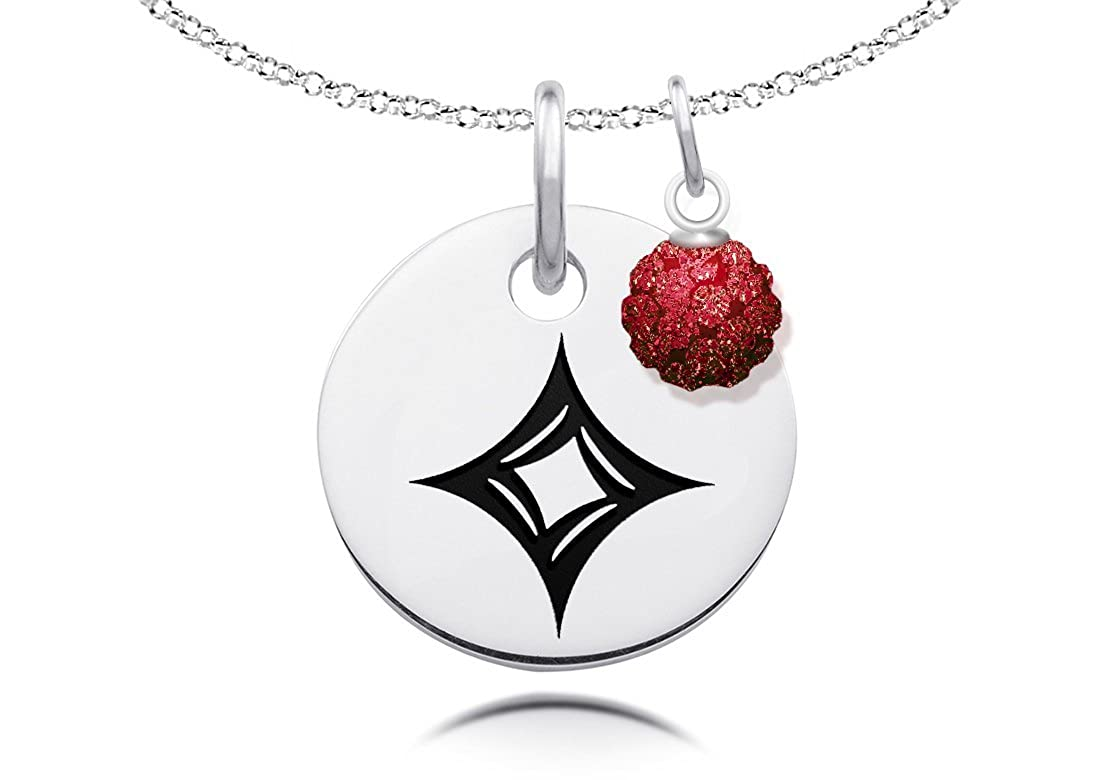 Alpha Sigma Alpha Necklace with Crystal Ball Accent Charm
