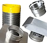 25 chimney insert stainless - Rockford Chimney Supply RockFlex Smooth Wall Chimney Liner Insert Kit, 6 Inch x 25 Feet