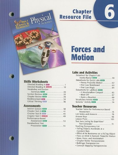 Holt Science Spectrum Physical Science Chapter 6 Resource File: Forces in Motion