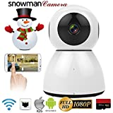 Home Security Camera, HD 1080P WiFi IP Camera, 2 Way Audio,Night Vision, Baby, Pet Security (White)