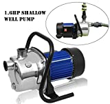 Oanon 1.6HP Stainless Shallow Well Pump Water Pumps - Lawn Sprinkling Booster Pump for Home Garden Water Transport Irrigation(1.6HP/115V)