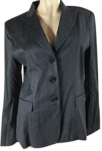 Elie Tahari Women's Montana Stretch Linen Blend Pinstripe Jacket, Spring Navy, 14 -
