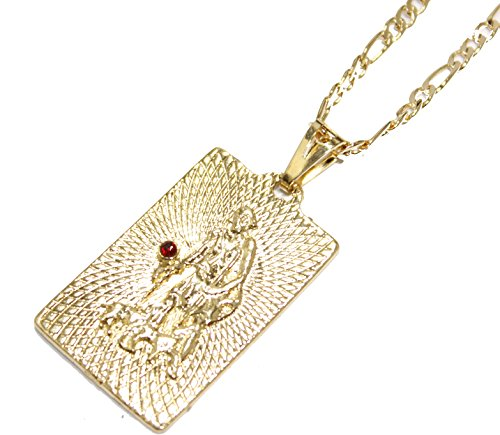 San Lazaro Medal - Dije Babalu Aye Cuba 18k Gold Plated Medal with 22 Inch Figaro Chain 18k Religious Medal