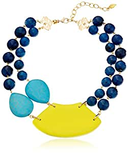 """David Aubrey """"LAUREN"""" Blue Agate, Turquoise, and Yellow Large Bib Necklace, 15"""""""