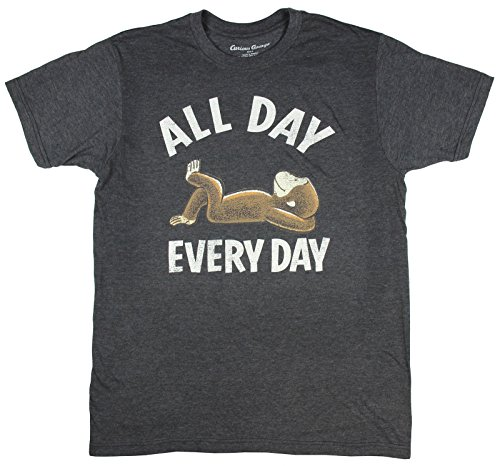 Curious George All Day Every Day Licensed Men's Graphic T-Shirt (Large, Charcoal)