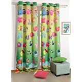 100 % Blackout Polysatin Window Curtains for Kids Rooms -Alphabet Friends- Set of 2 Curtain Panels with Silver Grommets 48 Inchx 60 Inch - Machine Washable