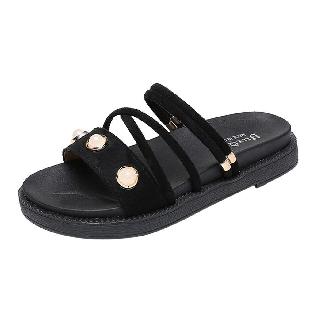 ZOMUSAR New! 2019 Women's Summer Casual Fashion Flat Bottom Roman Round Head Non-Slip Slippers Black
