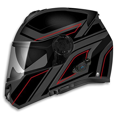 TORC unisex-adult full-face-helmet-style T27B Avenger Bluetooth Flat Matte Black Blade Motorcycle Bike Helmet (Flat Black,Large),1 Pack