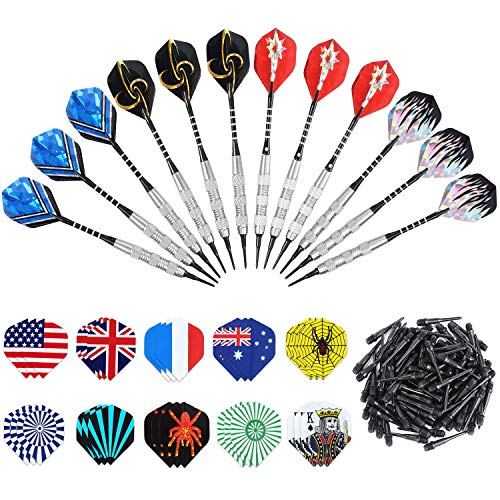 (ANSOWNY Soft Tip Darts for Electronic Dartboard, 18 Grams Darts Plastic Tip Sets with Aluminum Shafts, Brass Steel Barrels, 12 Pack + Extra 100 Pcs Dart Tips & 30 Dart Flights (Multicolor 2))