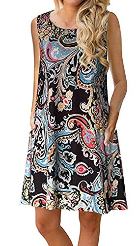 Boho Tshirt Dresses for Women Beach Casual Sleeveless Floral Shift Pockets Swing Loose Damask(M,Black)