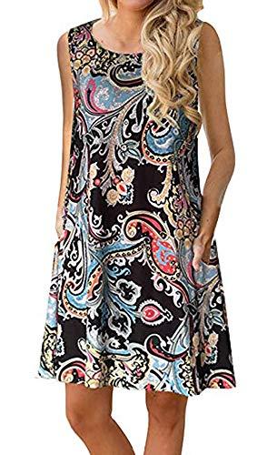 Boho Tshirt Dresses for Women Beach Casual Sleeveless Floral Shift Pockets Swing Loose Damask(M,Black) (Best Travel Wear For Women)