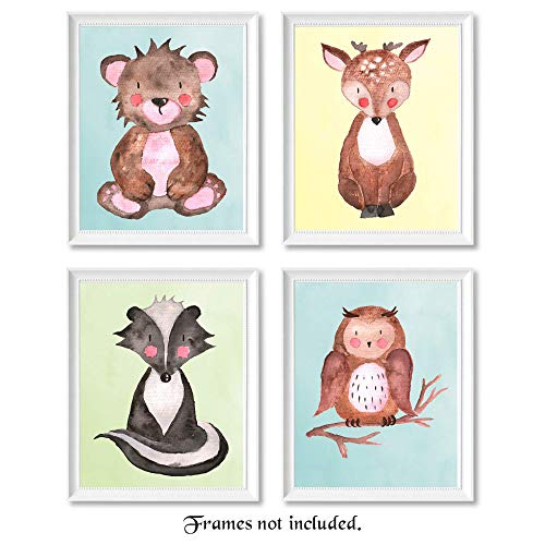 Woodland Forest Baby Animals Prints Wall Art Set of 4 (Four) 8x10 Posters for Nursery, Baby Room Decor - Unframed - Bear, Deer, Owl and Badger Images on Pastel Backgrounds