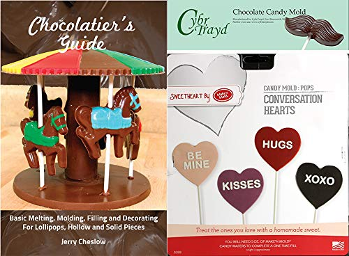 (Cybrtrayd Make'n Mold MNM3099 Conversation Hearts Pops Mod Chocolate Candy Mold with Chocolatier's Guide Regular Clear)