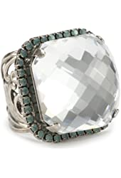 "Sorrelli ""Aegean Sea"" Crystal Checkerboard Cube Adjustable Ring"