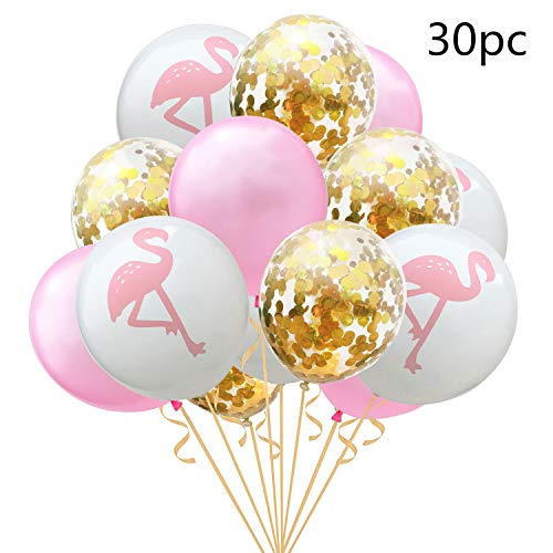 30 Pcs Tropical Hawaiian Party Decorations Balloon Flamingo Party Supplies Confetti Balloons for Luau Beach summer Party Decorations