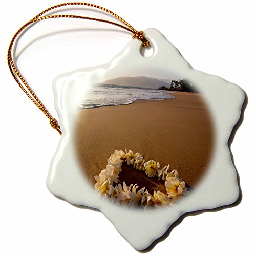 3dRose Danita Delimont - Beaches - USA, Hawaii, Maui, Lie on Kihei Beach with Reflections in Sand - 3 inch Snowflake Porcelain Ornament (orn_259255_1) by 3dRose