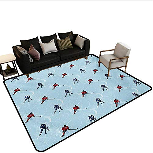 Decorative Floor mat,Abstract Lines Background Ice Hockey Pattern Competitive Match Winter Season 6'x8',Can be Used for Floor Decoration ()