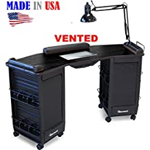 393-V Manicure Nail Table Vented, Lockable w/Black Top Made in USA by Dina Meri
