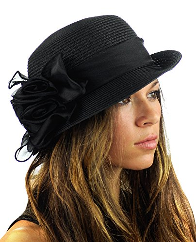 NYFASHION101 Satin Ribbon Triple Rose Band Side Flip Brim Cloche Bucket Hat - Black